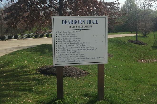 Dearborn Trails (Aurora - Lawrenceburg - Greendale) Dearborn Trail Head Sign at the Dearborn trailhead.