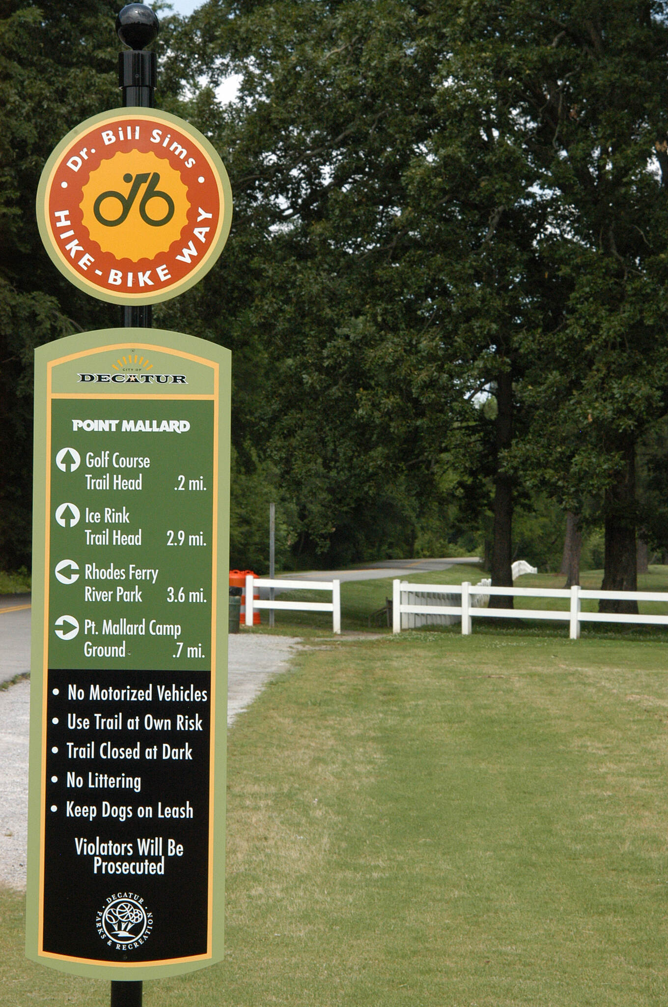 Decatur Trail Dr. Bill Sims Hike-Bike Way Point Mallard Golf Course entrance.