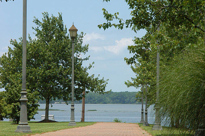 Decatur Trail Rhode's Ferry Park A view of the Tennessee River in the shade.
