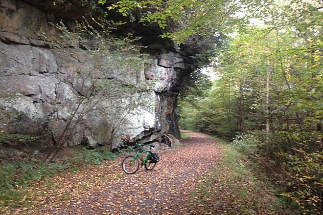 Deckers Creek Trail One of many rock cliffs Deckers Creek Trail October 2016
