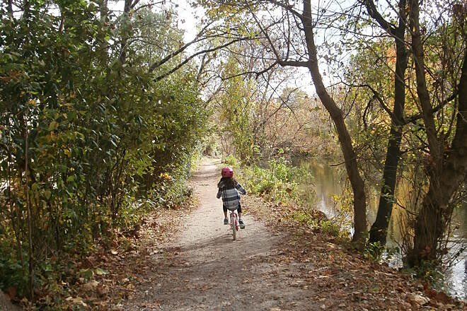 Delaware and Raritan Canal State Park Trail Off  she goes Heading south towards Lambertville