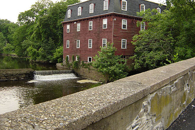 Delaware and Raritan Canal State Park Trail Beautiful Mill This beautiful mill is in Kingston. The former bridge that was next to this mill was blown up by George Washington to prevent the Brittish from crossing it. It's a must see on this canal.