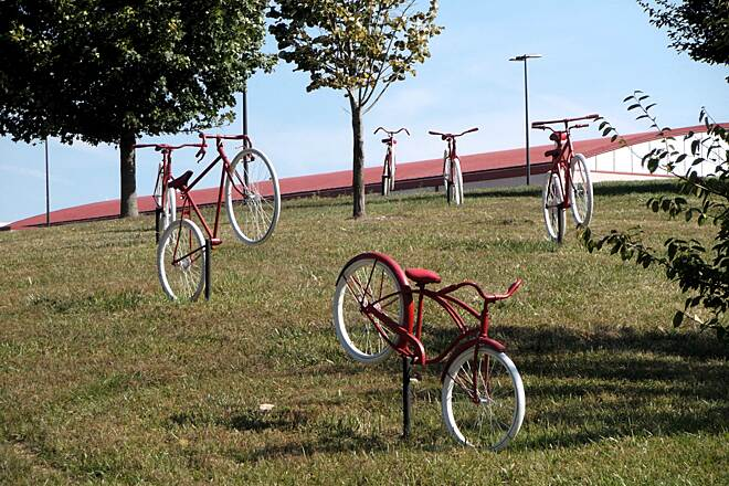 Delyte W. Morris Trail Having Fun at College See? Even the bicycles have fun on a good campus trail.