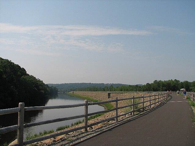 Derby Greenway Naugatuck River Fine views from atop the flood control wall.