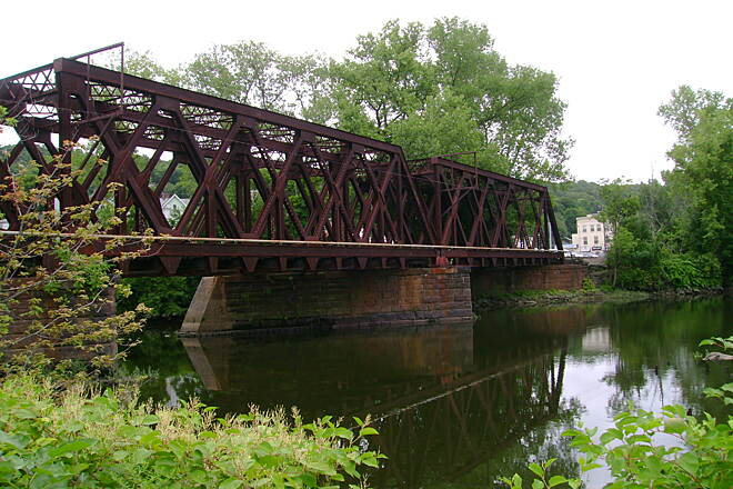 Derby Greenway Railroad bridge crossing the Naugatuck River