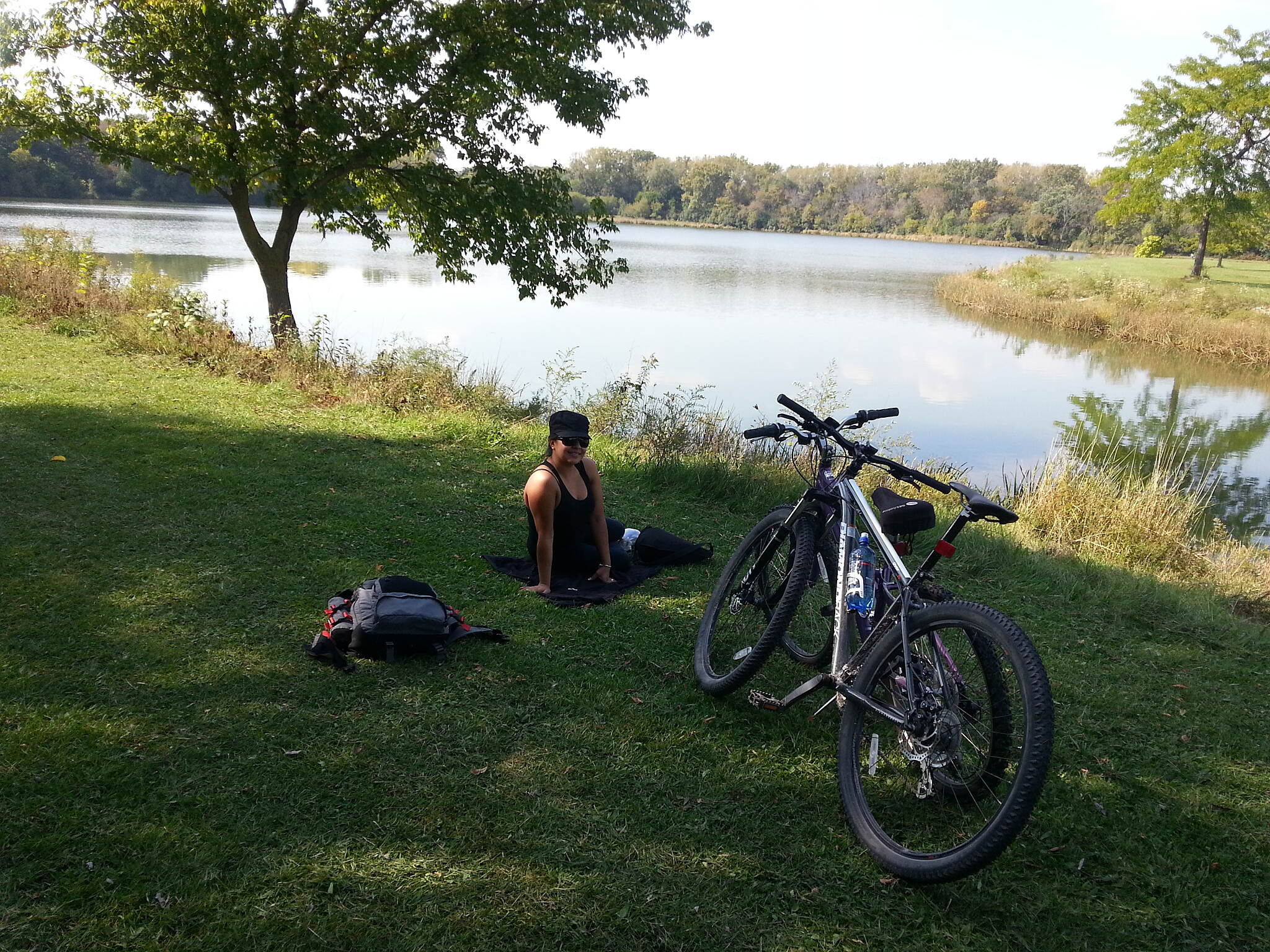 Des Plaines River Trail big bend lake Stopped for lunch