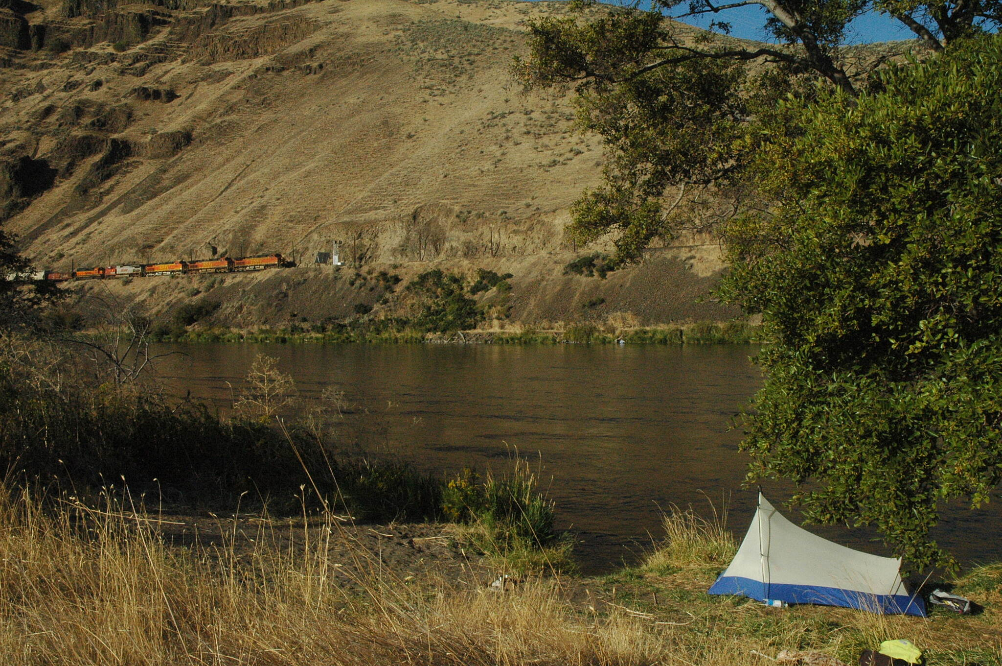 Deschutes River Railbed Trail Camp Morning at Boxcar rapids, trains and Rails to Trails, it doesn't get better than this