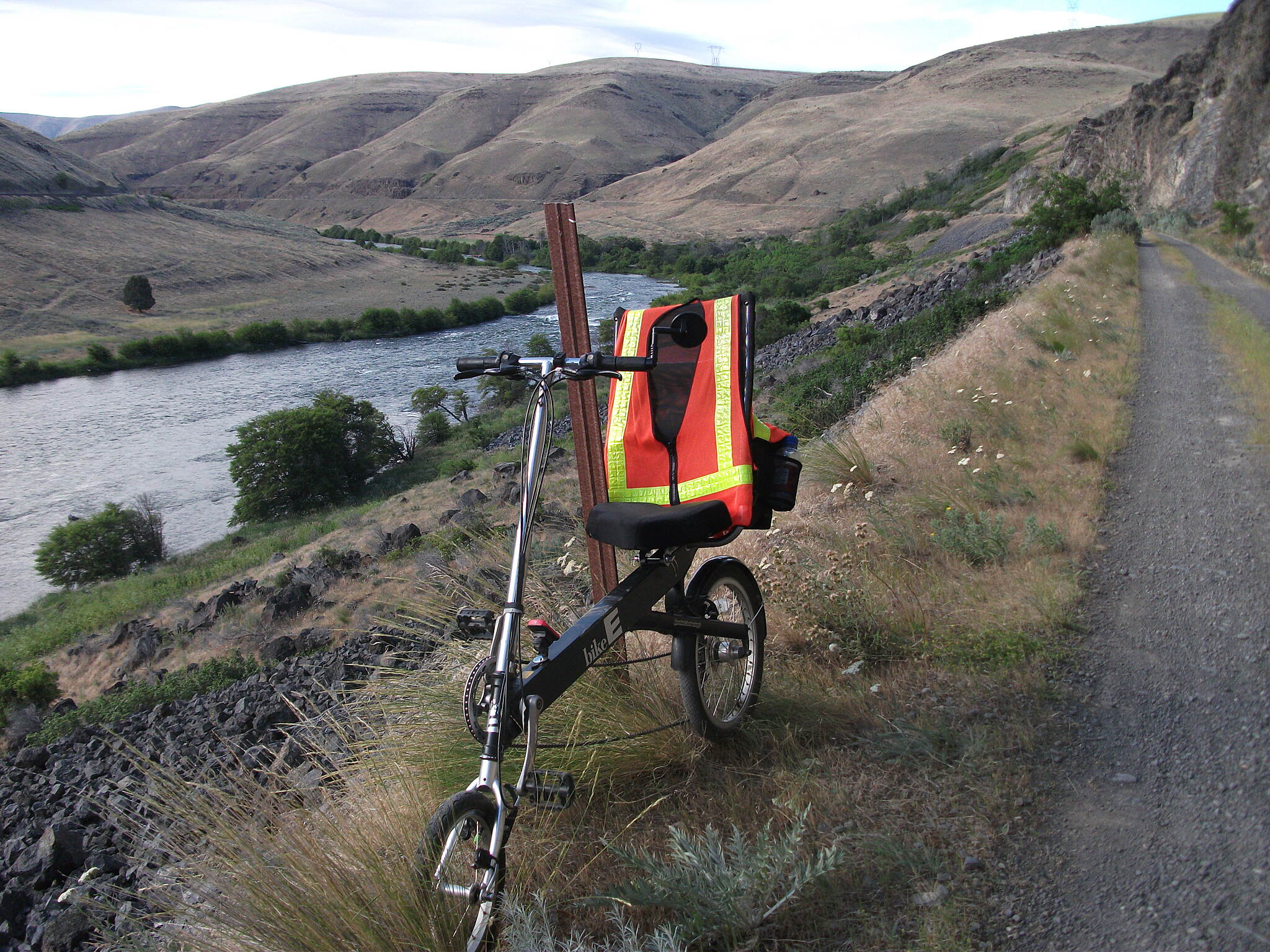 Deschutes River Railbed Trail Mile post. And my trusty steed.