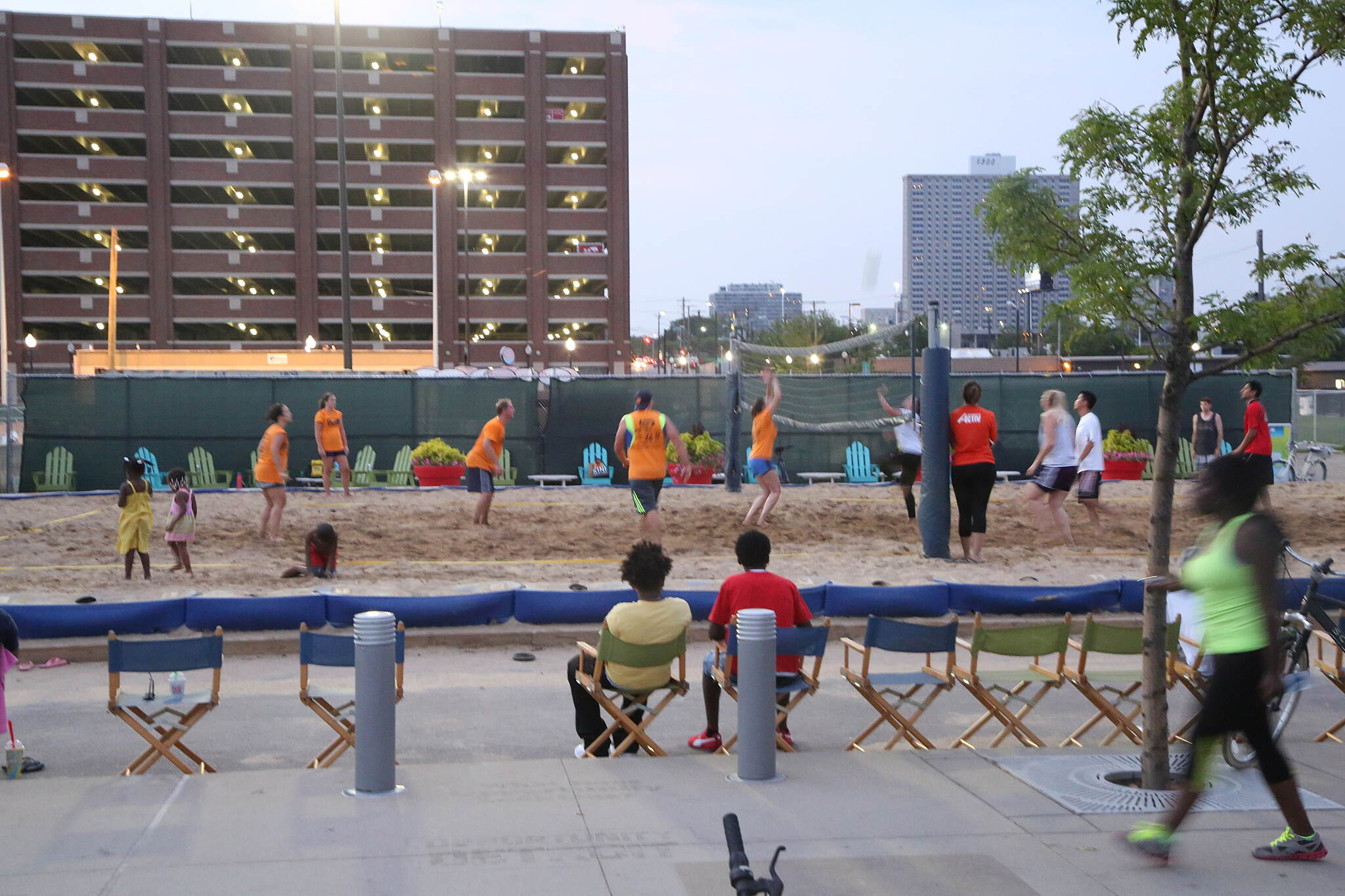 Detroit RiverWalk Volleyball game along the path