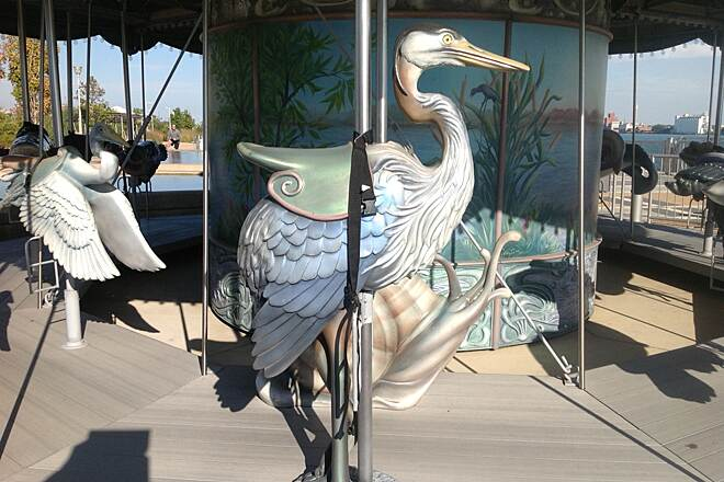 Detroit RiverWalk Cullen Family Carousel In Rivard Plaza, this beautiful, custom-made carousel features animals all native to the Detroit River, except two: a sea serpent and a mermaid.