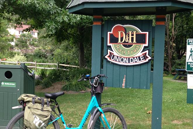 D&H Rail Trail Uniondale After a cold refreshing drink at Cables general store right on the trail