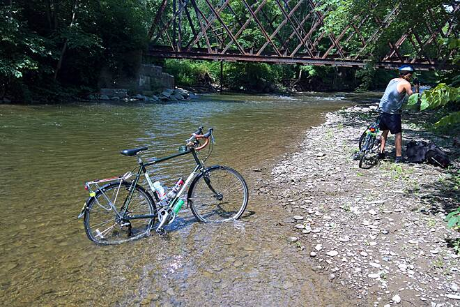 D&H Rail Trail D&H Trail at Starrucca Creek crossing Just south of the Starrucca viaduct is the Starrucca Creek. The bridge over the the creek is not ridable so you can back track and ride around it by road or wade across it as we did in July of 2018