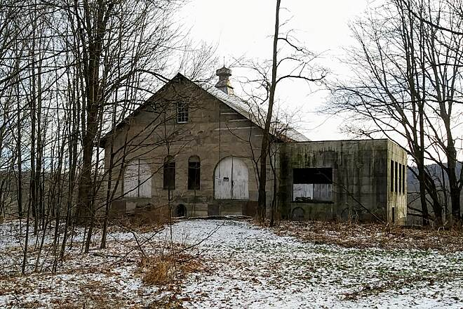 D&H Rail Trail December Landscape Abandoned railroad building along the trail near Thompson