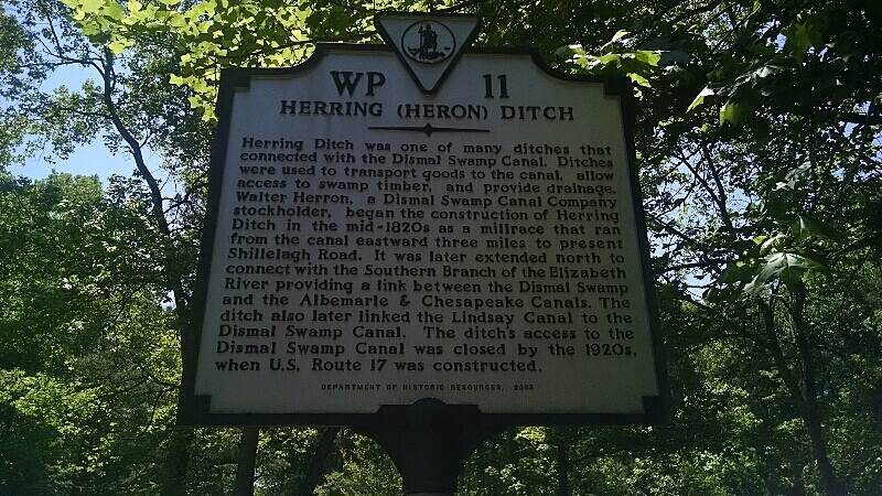 Dismal Swamp Canal Trail (VA) Heron Ditch Historical Marker