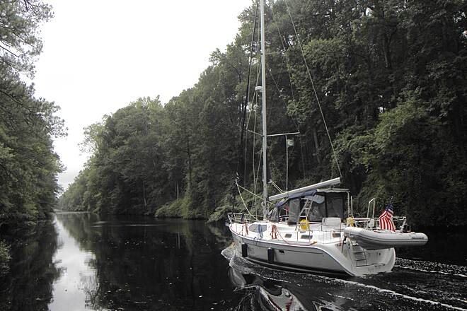 Dismal Swamp Canal Trail (VA) Southbound boat on the canal
