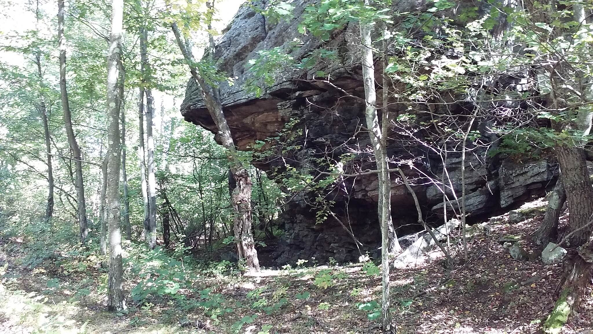 D&L Trail Rock Shelter Rock overhang found along the Black Diamond between Mountain Top and White Haven