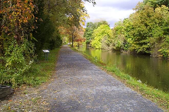 D&L Trail D&L Trail Lehigh Canal (North).  October 10, 2009 Looking north in Weissport, canal on right side.