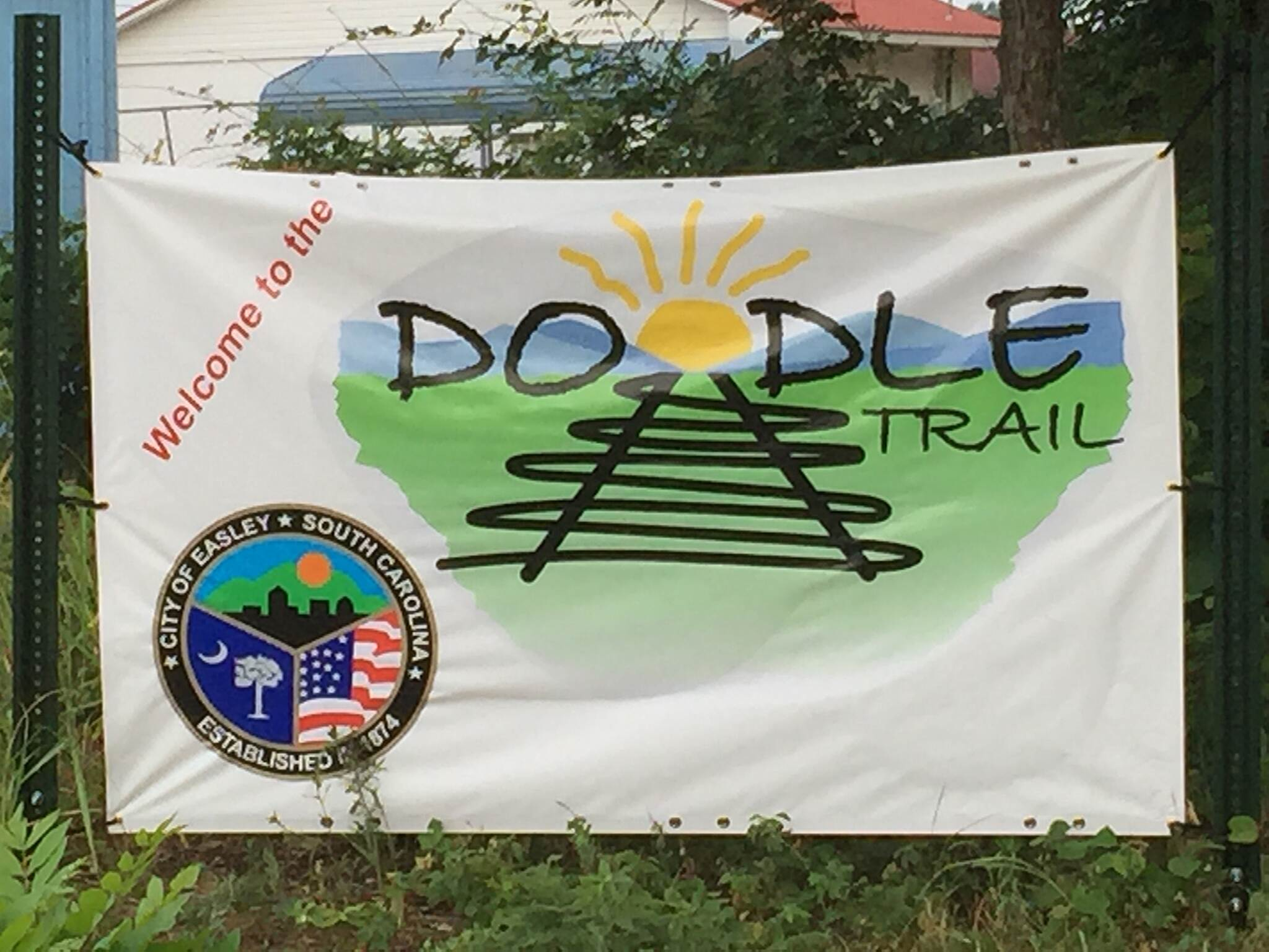 Doodle Rail Trail Easley end of the Doodle Trail Banner at entrance of trail