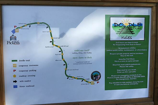 Doodle Rail Trail Easley trailhead map Details of the map at the Easley trailhead at 514 Fleetwood Drive. June 2016