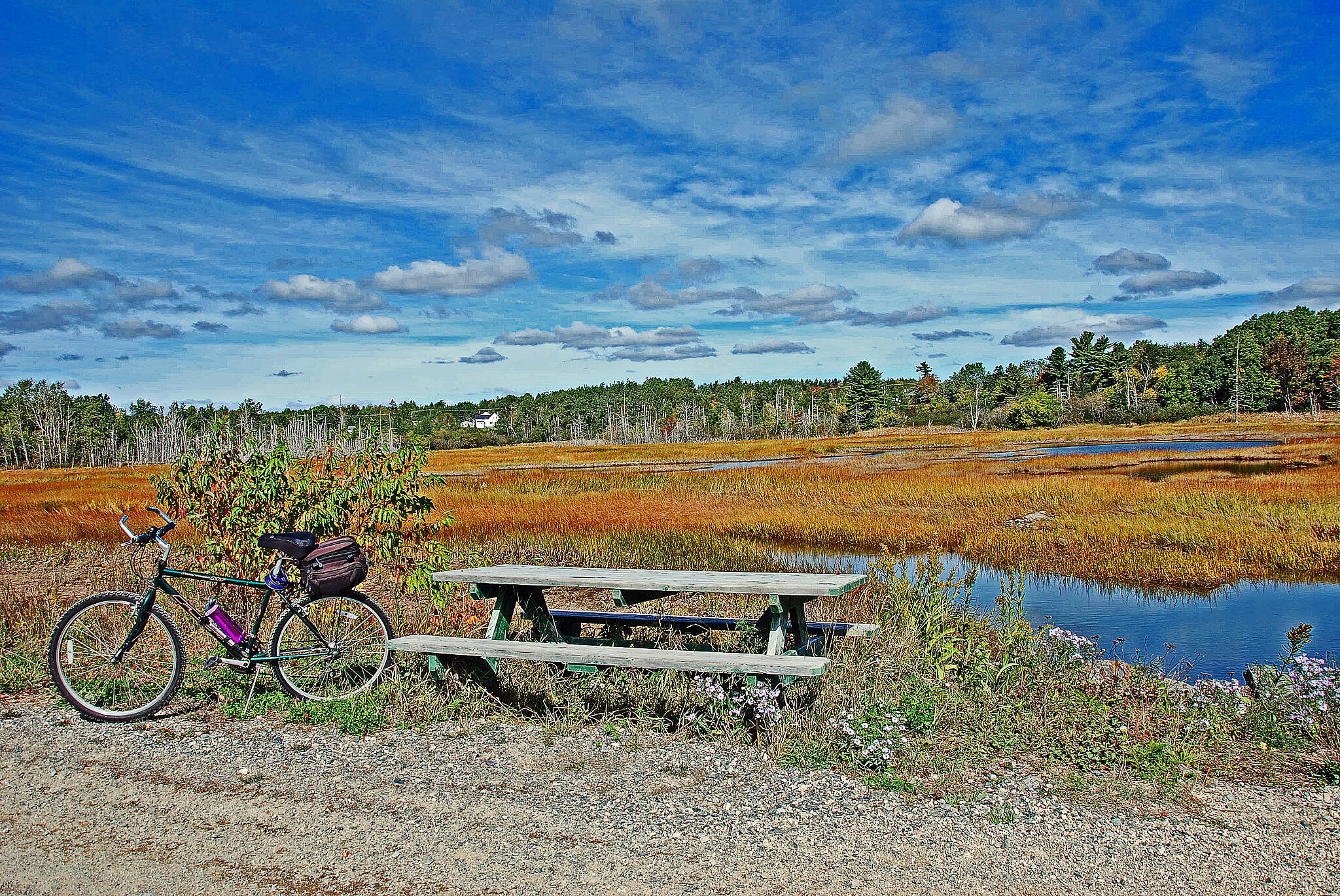 Down East Sunrise Trail Machias, ME September 2016. A scenic lunch spot along the trail.