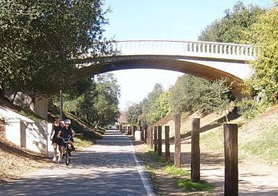Duarte Recreational Trail OAK AVE OVERPASS THIS CUT THROUGH THE HILL IS HIGH POINT OF TRAIL