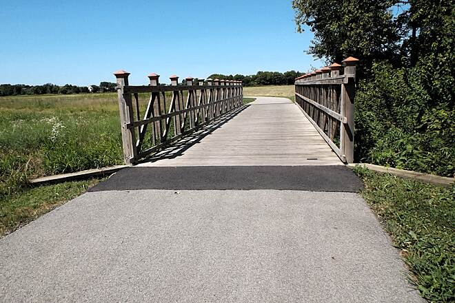 DuPage River Trail Bridge over Drainage Ditch Floodplain in Joliet