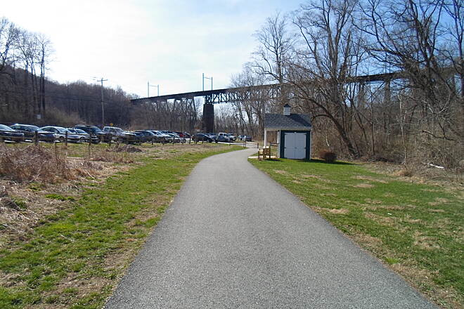 East Branch Brandywine Trail East Branch Brandywine Trail Approaching the northern trailhead, with the trestle visible in the background. Taken April 2015.