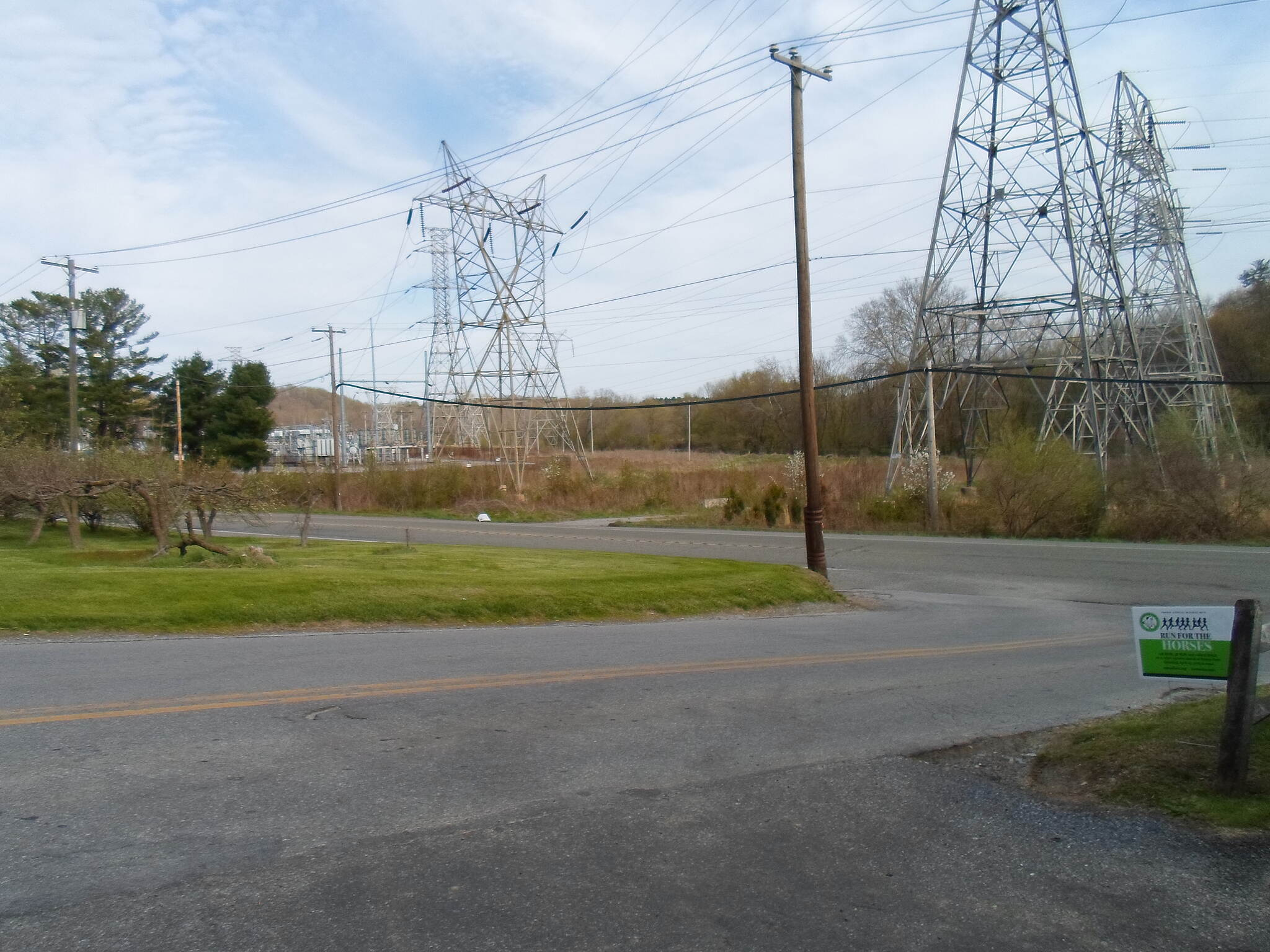 East Branch Brandywine Trail East Branch Brandywine Trail Electrical towers can be seen at the substation across Route 322 from the southern trailhead. They may not be pretty, but PECO deserves recognition for donating the land for this portion of the greenway. Taken April 2015.