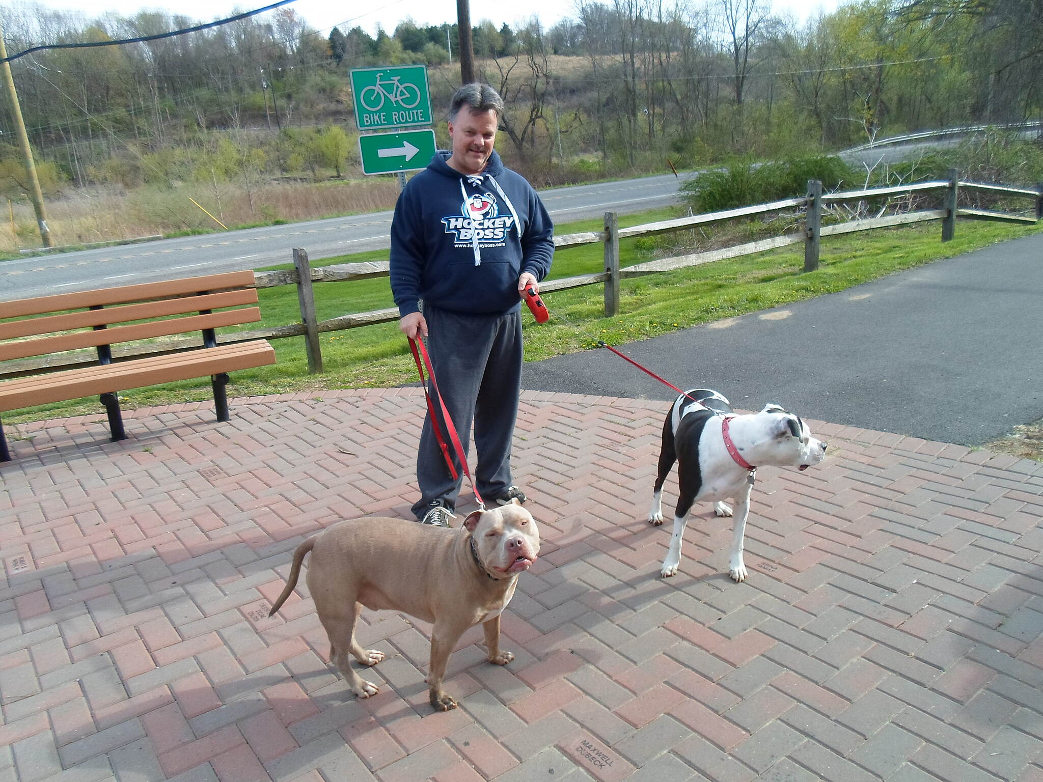 East Branch Brandywine Trail East Branch Brandywine Trail This man and his dogs were enjoying a springtime stroll at the southern trailhead at the intersection of Skelp Level Road and Route 322. Taken April 2015.