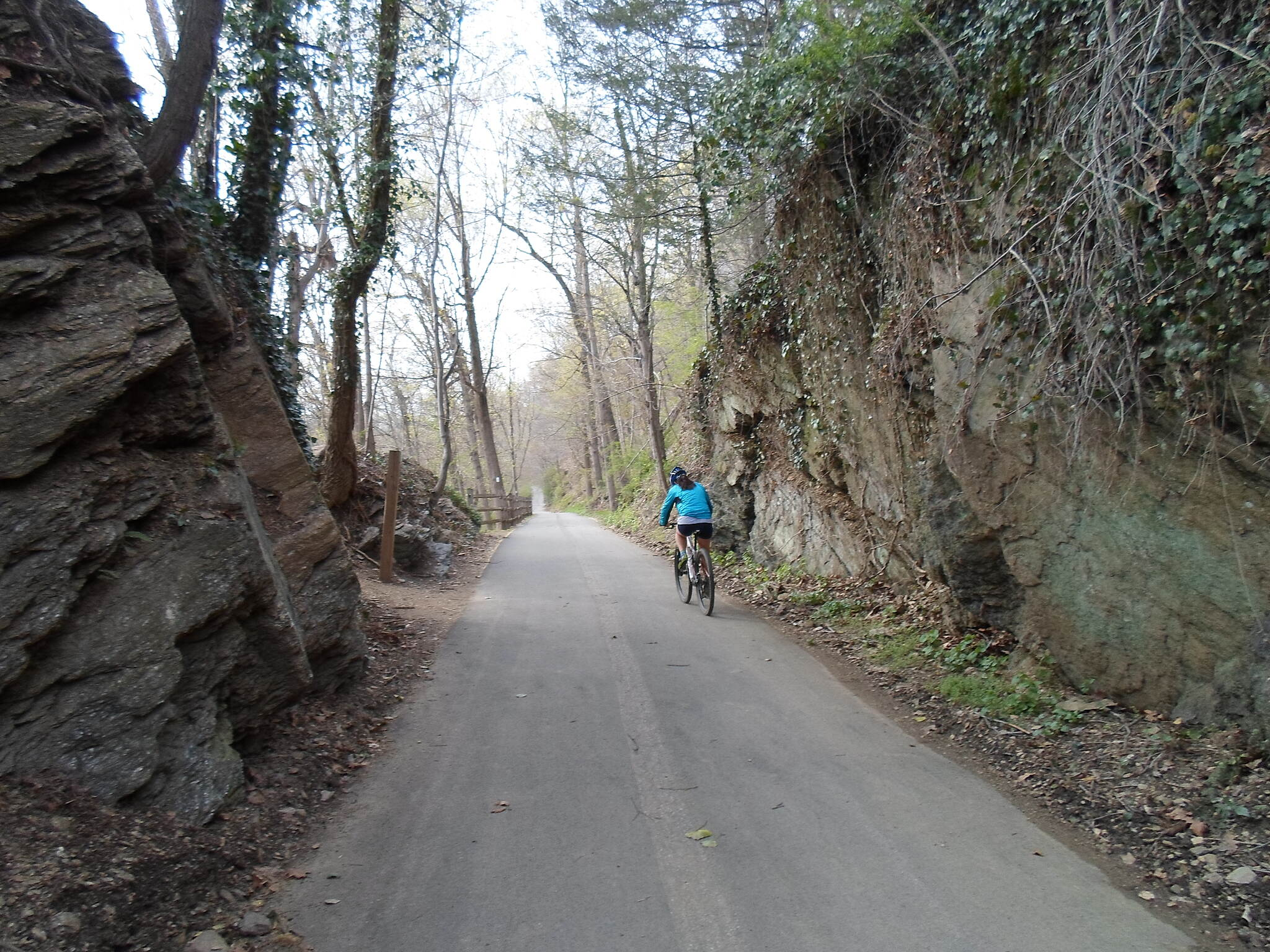 East Branch Brandywine Trail East Branch Brandywine Trail Cyclist passing through the old rock cut near the trail's southern terminus. Taken April 2015.