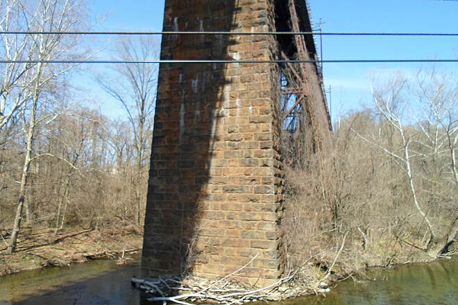 East Branch Brandywine Trail East Branch Brandywine Trail Brick abutment to the massive trestle just south of Downingtown.