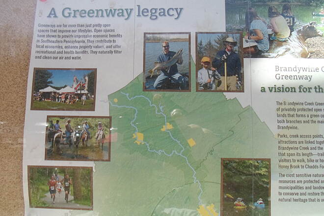 East Branch Brandywine Trail East Branch Brandywine Trail This informative sign explains how the trail fits into a larger project, known as the Brandywine Greenway, which involves preservation of nature, and development of parks and trails along the Brandywine drainage basin.