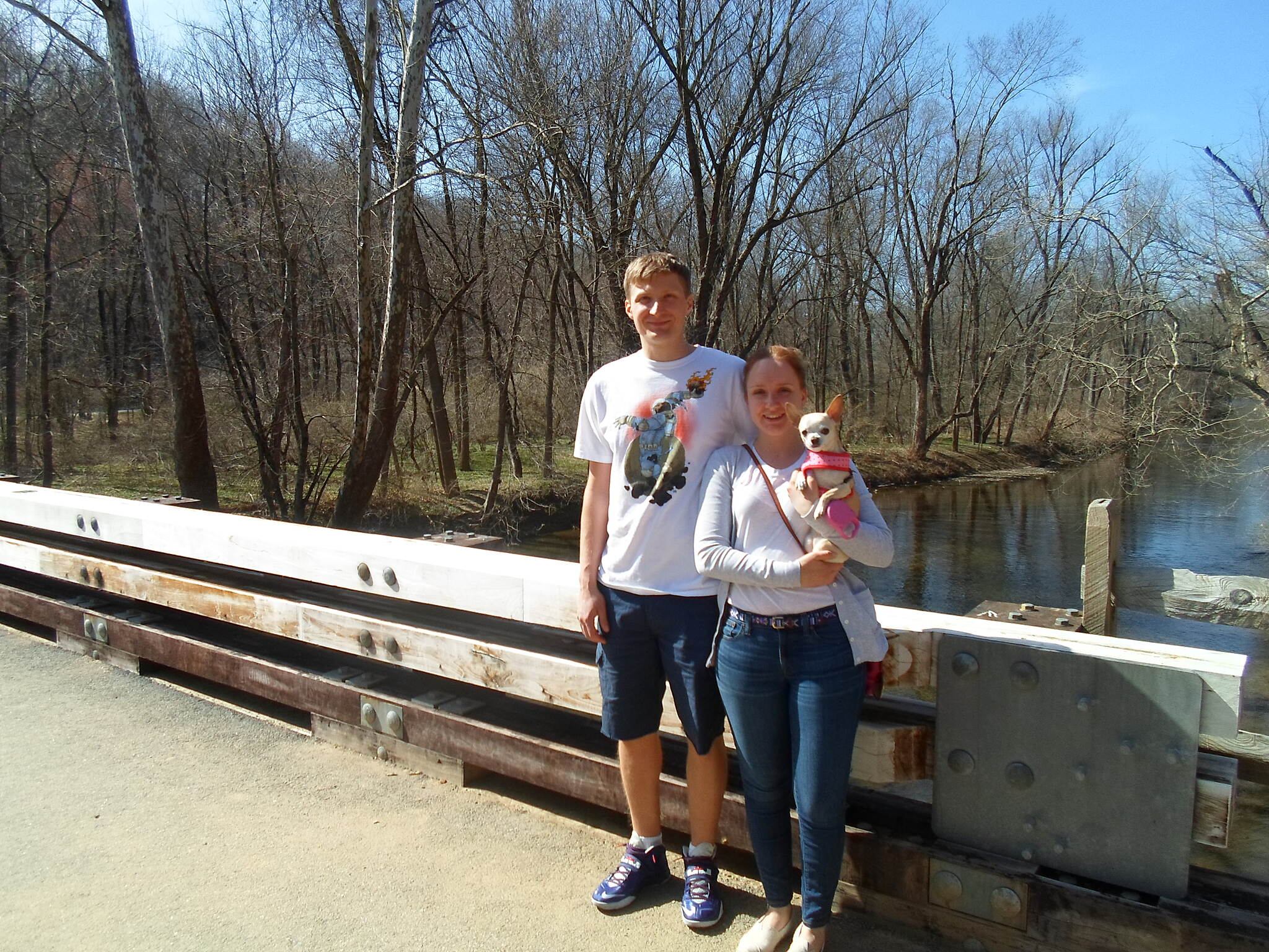 East Branch Brandywine Trail East Branch Brandywine Trail Couple posing with their small dog on the trail bridge. Taken April 2015.