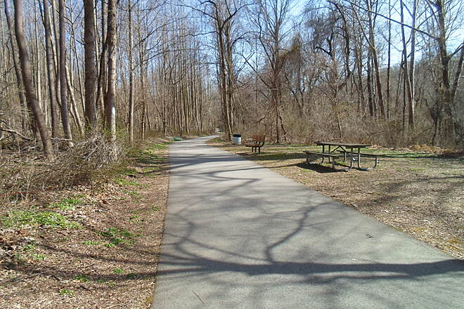 East Branch Brandywine Trail East Branch Brandywine Trail Picnic tables off the trail north of Harmony Hill Road. Taken April 2015.