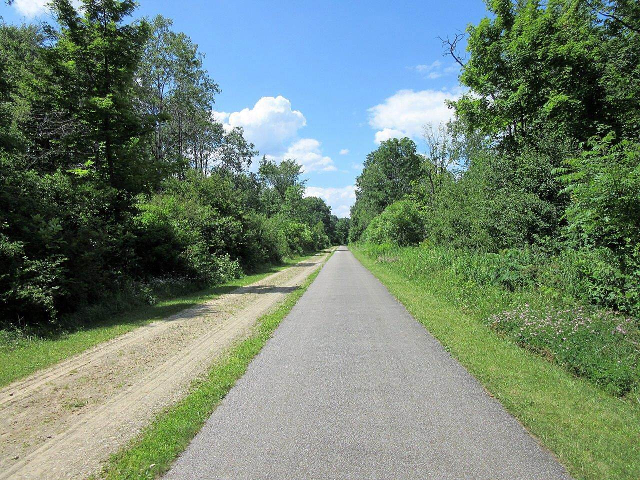 East Branch Trail (PA) Amish Buggy Trail along side July, 2017-Amish buggy trail runs along the Paved Trail