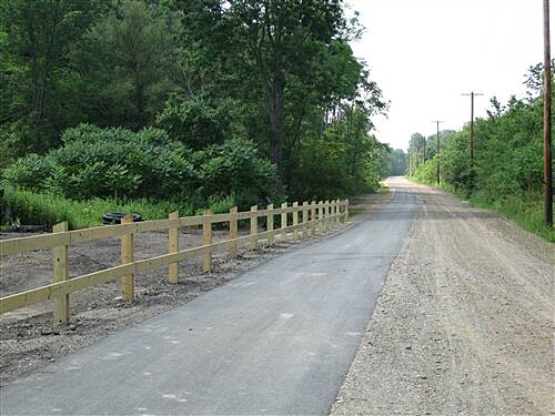 East Branch Trail (PA) Dual lane trail This trail has two lanes - one for bikes and walking and one for buggy and equestrian travel
