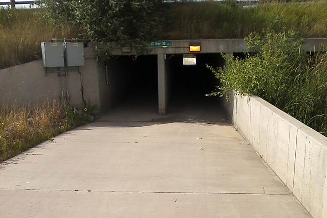 East Cheyenne Greenway Tunnel Under Lincolnway After this tunnel, you will take the new sidewalk along Polk Ave to Pershing