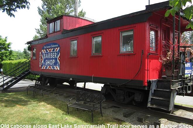 East Lake Sammamish Trail Caboose at trail head Old caboose at trail head now serves as a barber shop