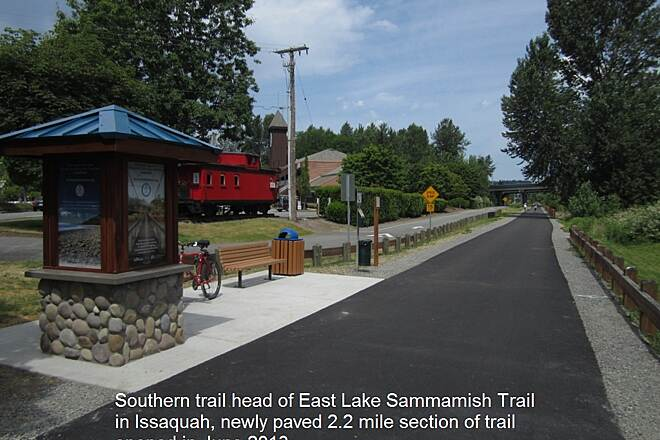 East Lake Sammamish Trail E. Lake Sammamish Trail Southern trail head of newly paved E. Lake Sammamish Trail in Issaquah