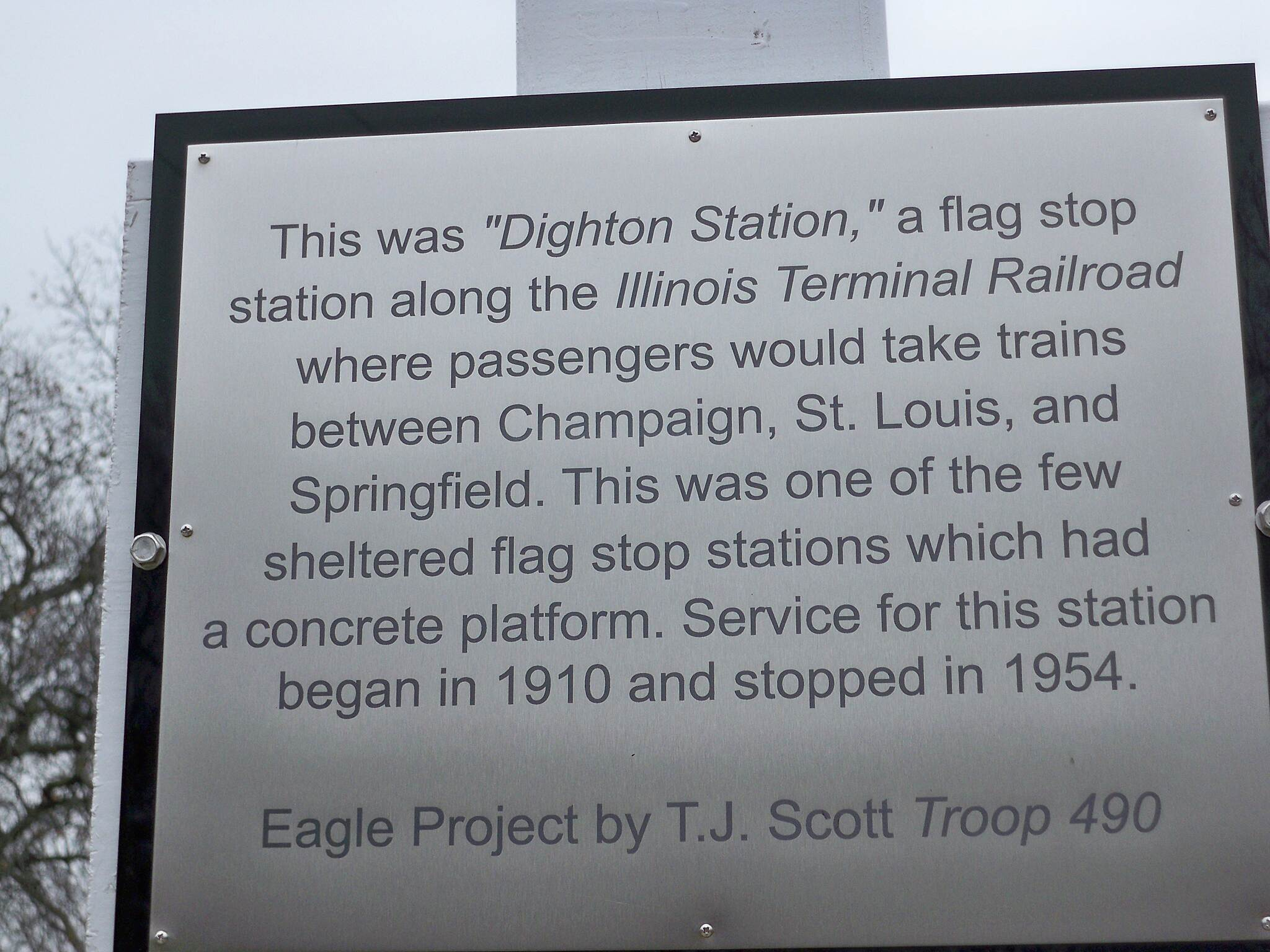 East Prairie Bicycle & Walking Path Dighton Station Sign about use and restoration project.