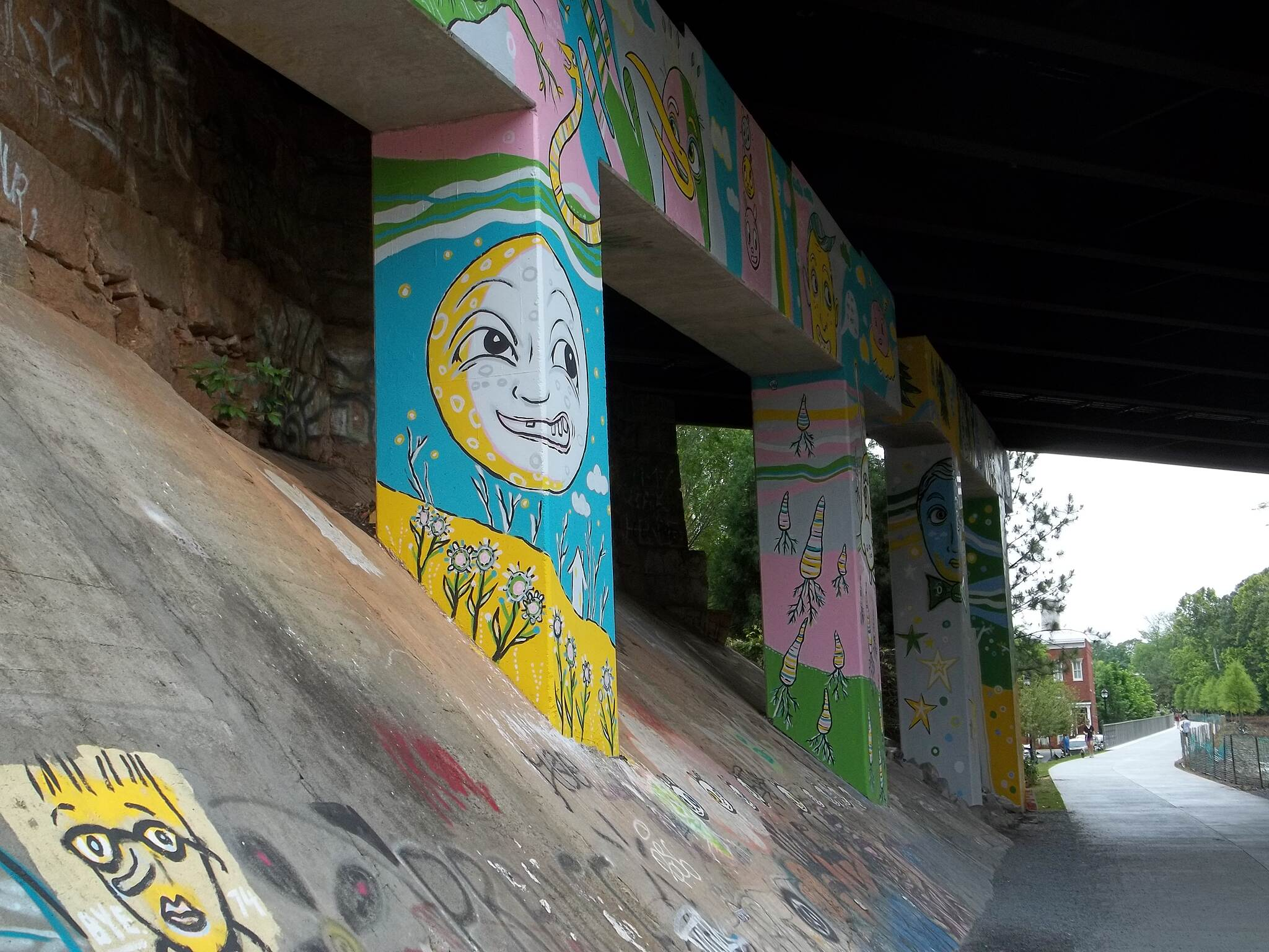 Eastside Trail (Atlanta BeltLine) Street Art Whimsical street art adorns the North Highland Ave. bridge.