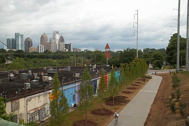 Eastside Trail (Atlanta BeltLine) Trails End This is the temporary north end of the Eastside Beltline trail At Monroe Drive and Tenth St.The Midtown Atlanta skyline is in the background.