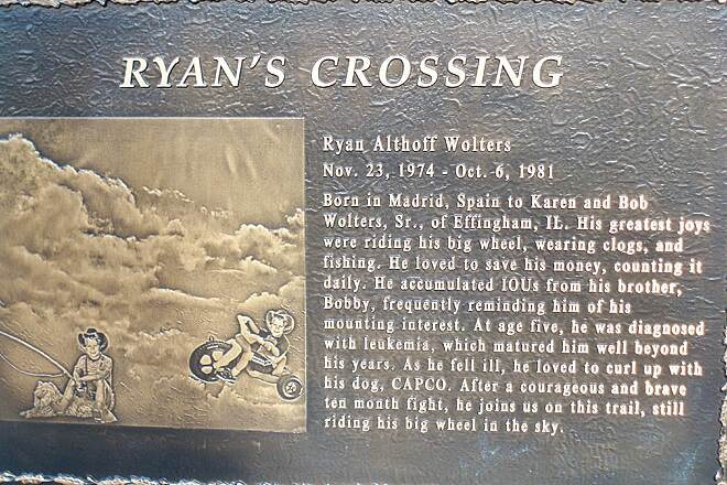 Effingham TREC Ryan's Crossing: Commemorative Plaque At bridge over Little Wabash River.