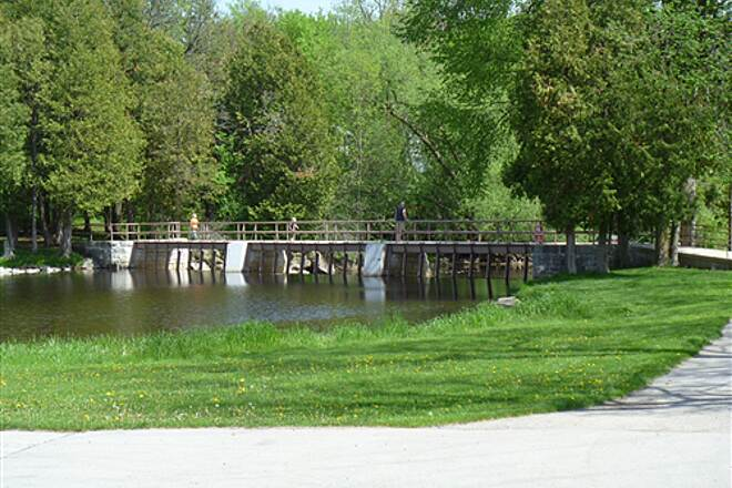 Eisenbahn State Trail Eisenbahn Trail Photo May 22, 2011 Kewaskum Park with Restrooms and Picnic Area