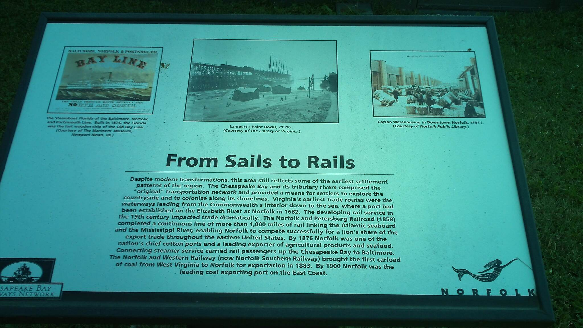 Elizabeth River Trail (Atlantic City Spur) Interpretive Sign This sign gives a brief overview of the history of the Chelsea / Fort Norfolk / Atlantic City area of Norfolk - with its ties to railroad freight (coal) and passenger connections.