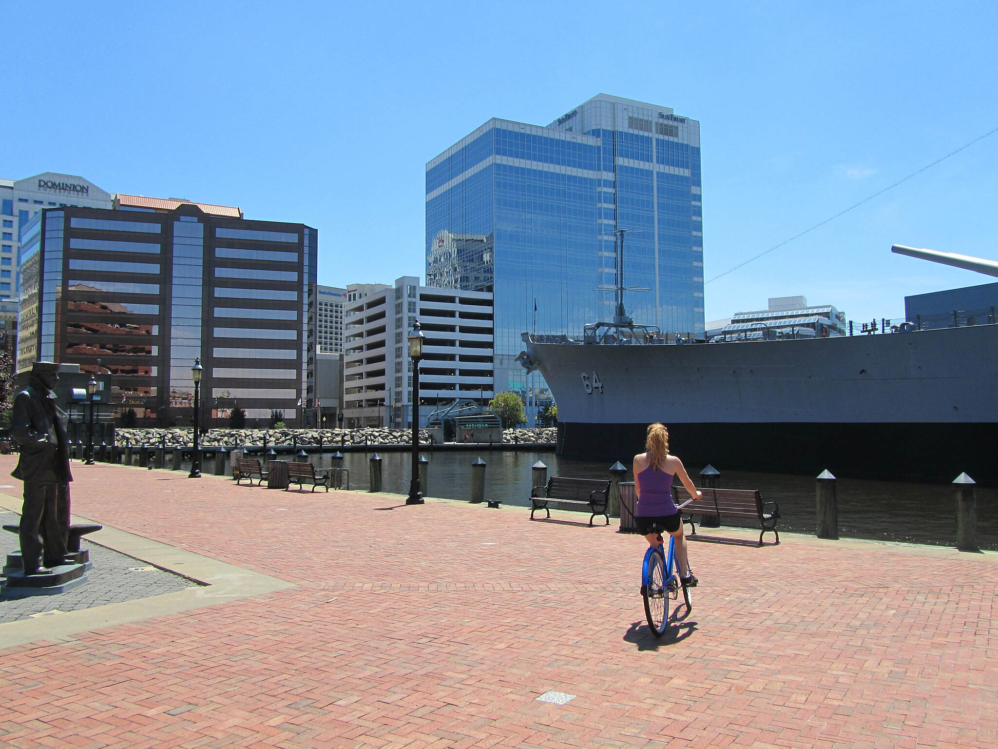Elizabeth River Trail (Atlantic City Spur) Great views! Great views of the USS Wisconsin and Downtown from the trail!