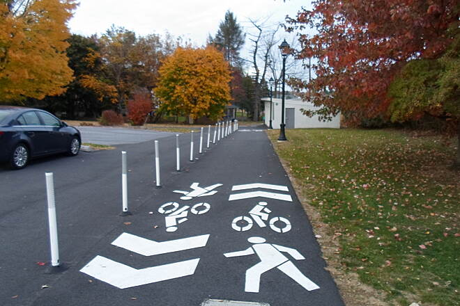 Elizabethtown Connector Trail Elizabethtown Connector Trail Looking east from Wilson Ave; reflective posts separate the trail from an adjacent driveway.