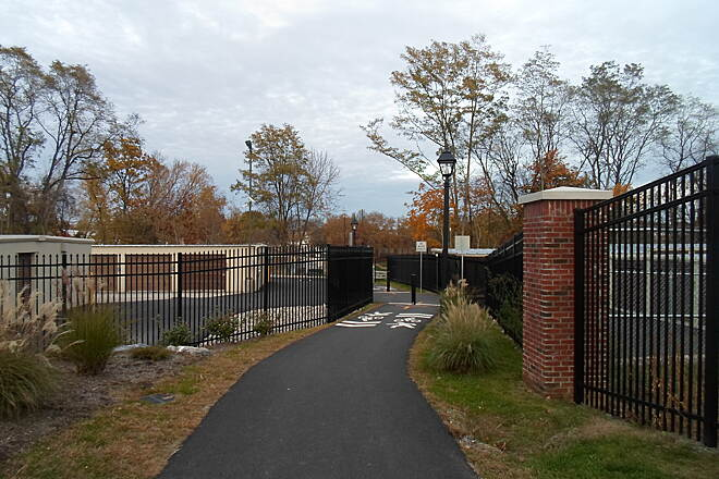 Elizabethtown Connector Trail Elizabethtown Connector Trail The trail passes between mini-storage facilities between Brown Street and Conoy Creek. Trail users should be observant for vehicles and people moving between the two facilities, as well as the trail bollards.