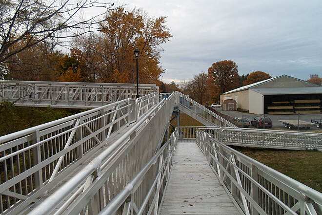 Elizabethtown Connector Trail Elizabethtown Connector Trail This photo shows the ramp in the foreground and steps in the background, which extend from the east end of the trail bridge over Conoy Creek.
