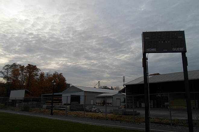 Elizabethtown Connector Trail Elizabethtown Connector Trail View of the trail passing along the north side of athletic fields, with the scoreboard in the foreground. Taken Oct. 2015.
